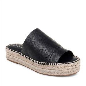 Splendid Thaddeus Black Leather Slide Espadrilles